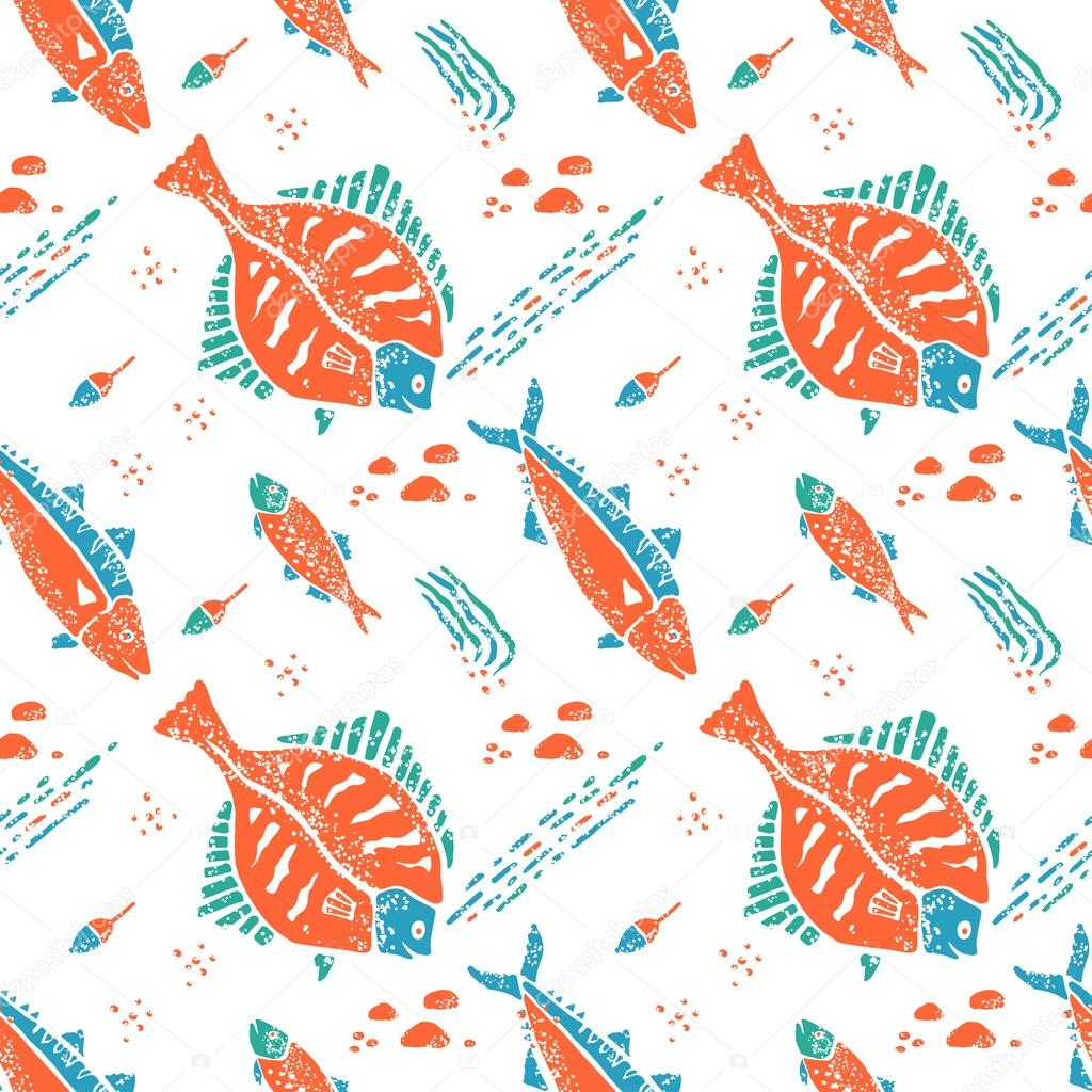 Flounder pattern in naive lino style