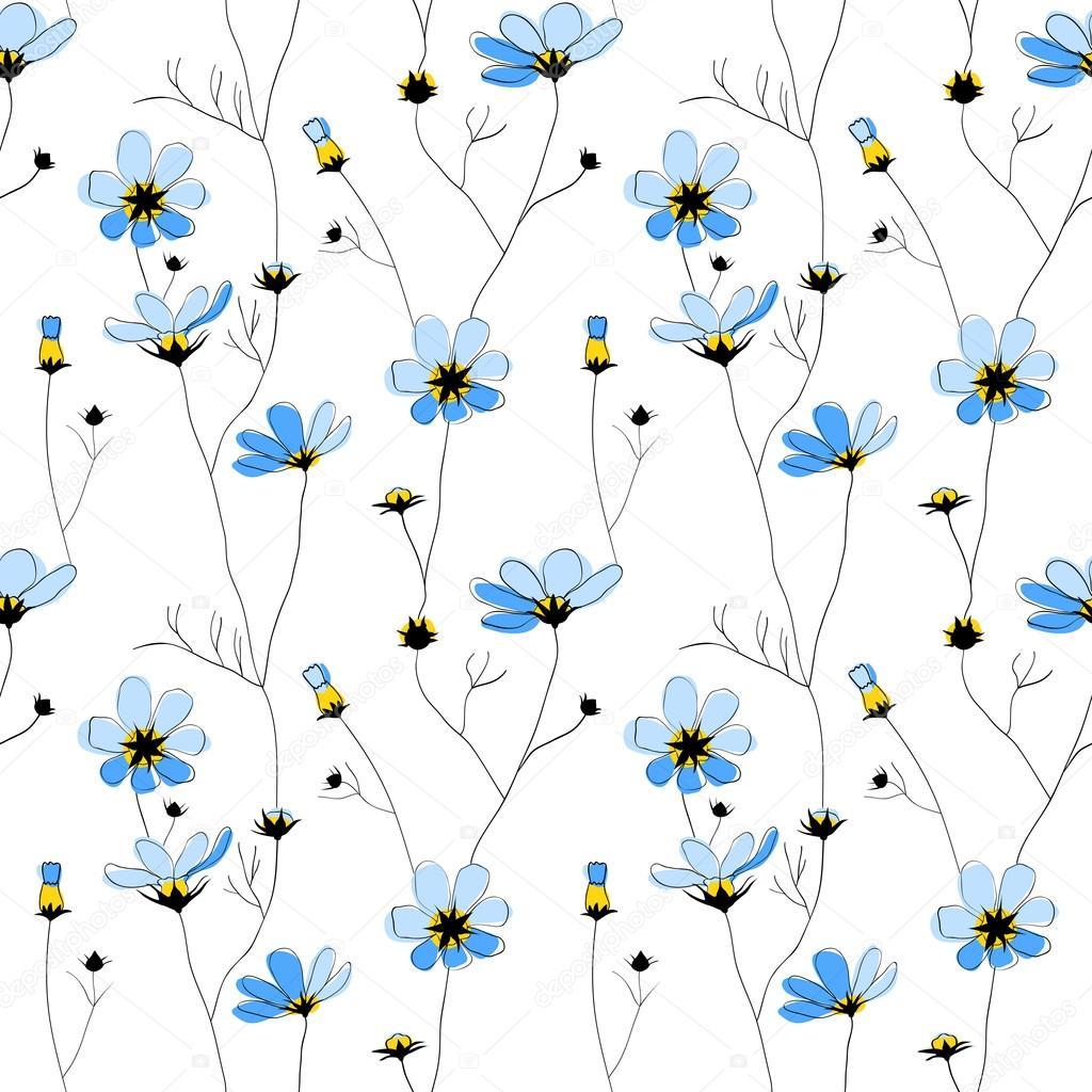 Patron Sin Fisuras De Flores Azules Sobre Fondo Blanco Vector De
