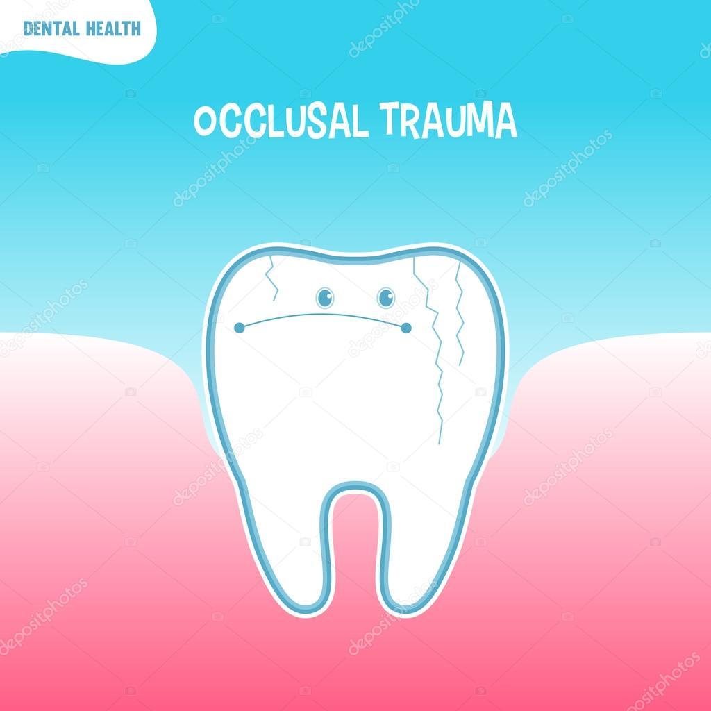 Cartoon bad tooth icon with occlusal trauma — Stock Vector ...