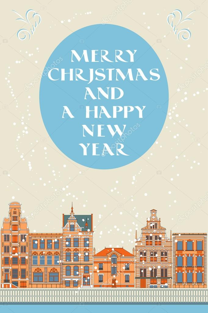 Lovely Christmas card with an Old City — Stock Vector © xenbuddism ...