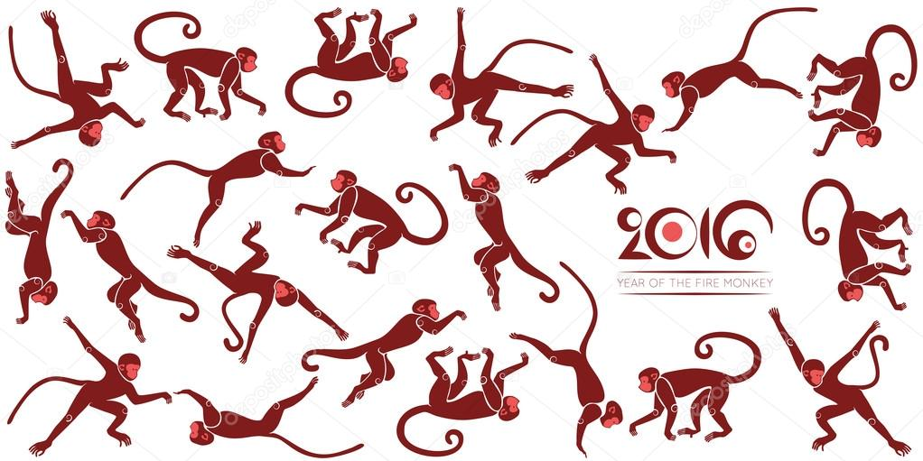 New years card with the jumping monkeys
