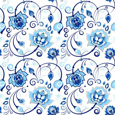 Floral seamless pattern in slavic theme