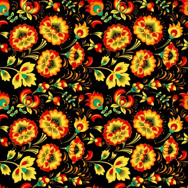 Floral seamless pattern in slavic country style