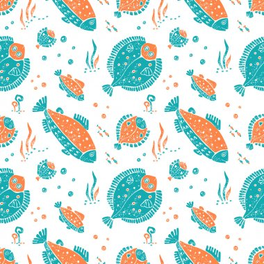 Seamless pattern in lino style, flounder and trout