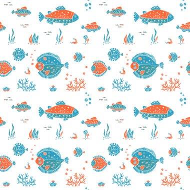 Seamless pattern in lino style, underwater world