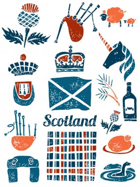 Symbols of Scotland set in lino style