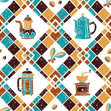 Seamless pattern Argyle and Coffeemakers
