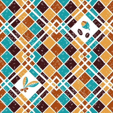 Vector seamless  pattern Argyle and Coffee beans clip art vector