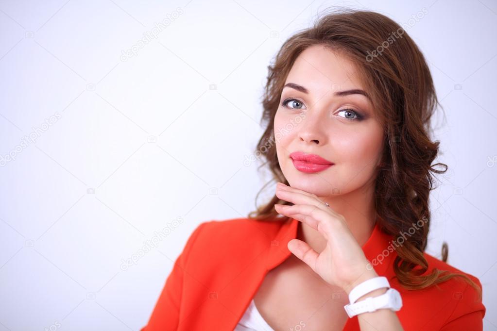 Roja Chaqueta Aislada Pelo Sobre Rizado Hermosa Mujer Una Con x1gYgSH
