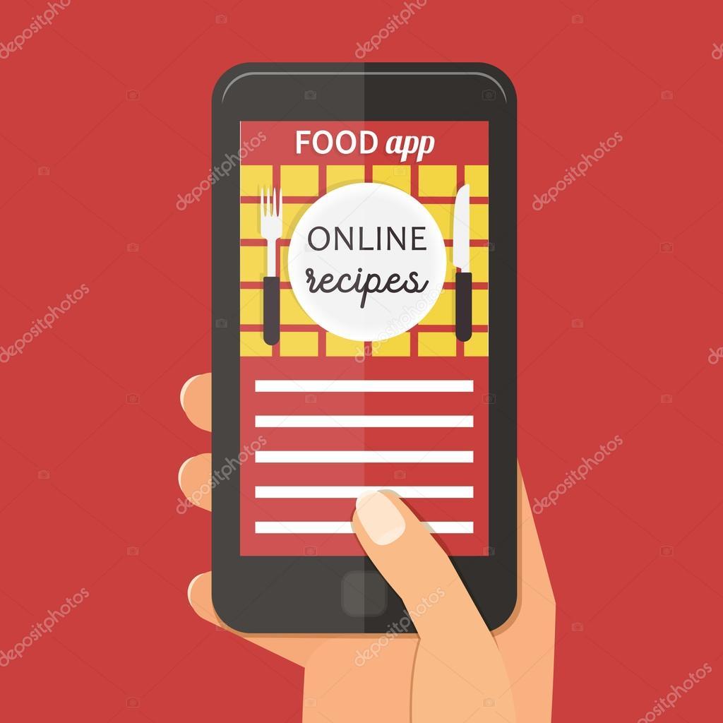 Online cooking recipes application. Vector flat app