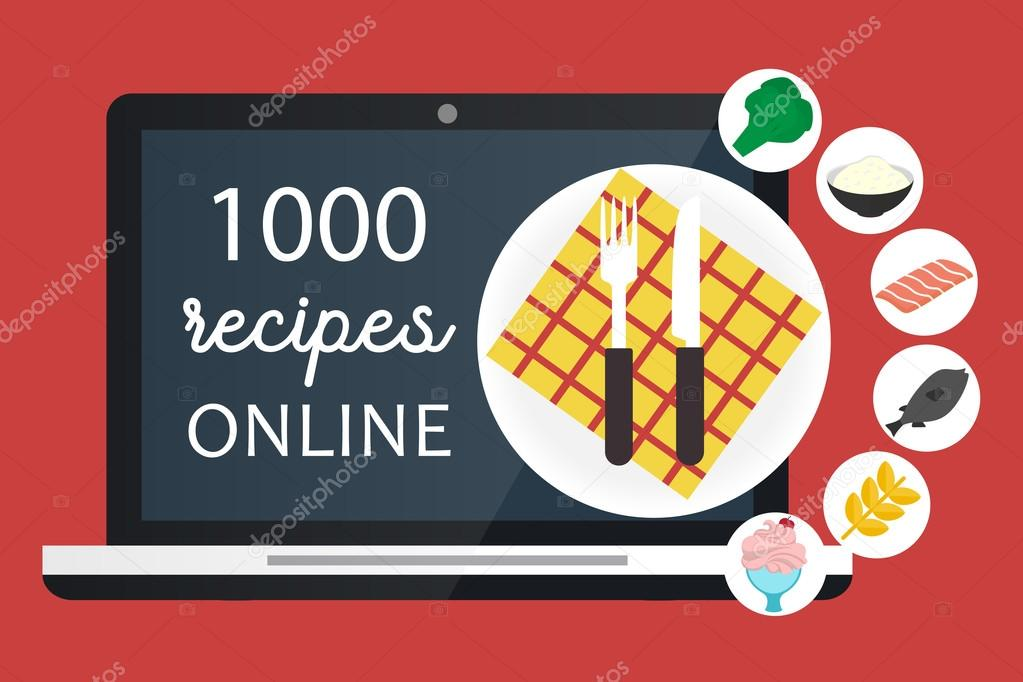 Online cooking recipes website vector flat app illustration online cooking recipes website vector flat app illustration stock vector forumfinder Choice Image