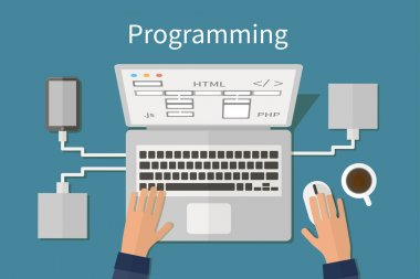 Programming and coding, website deveopment, web design. Flat vector concept.