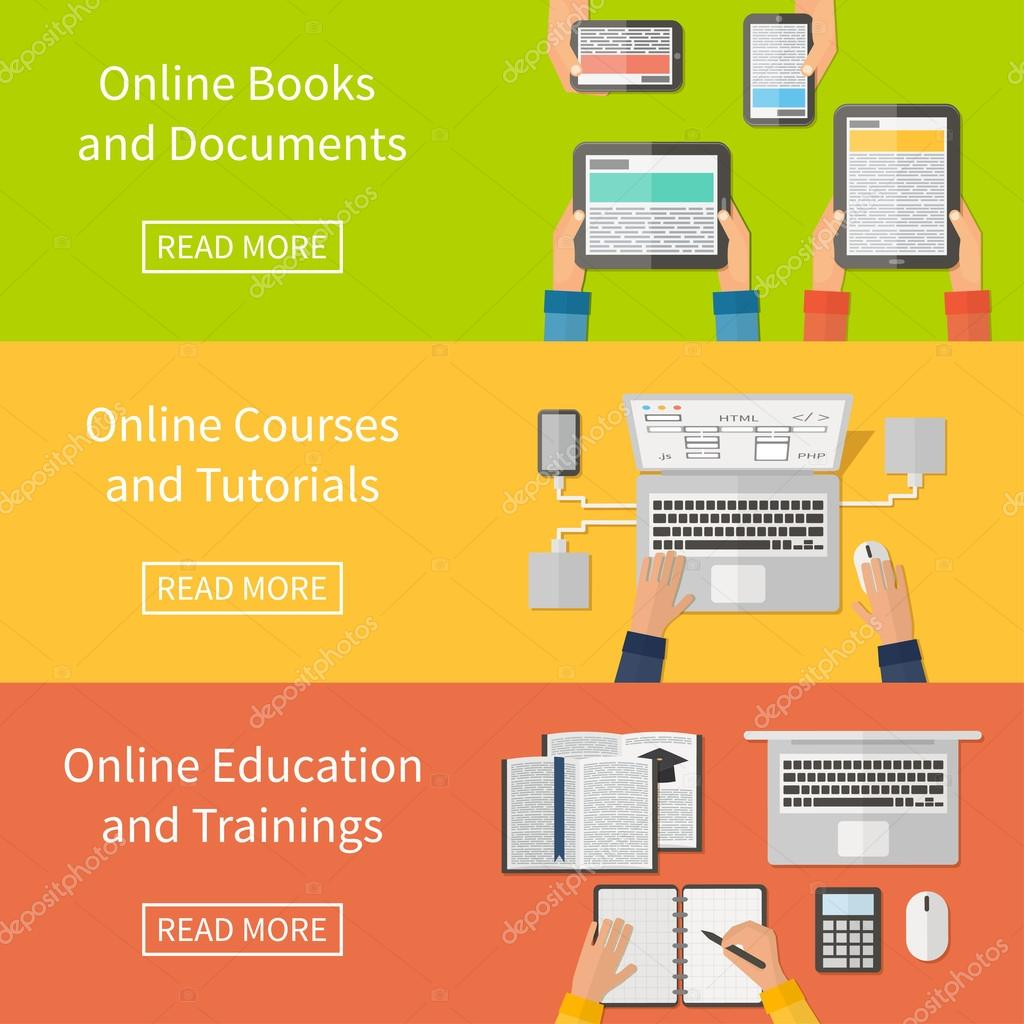 Online education,online training courses and tutorials, e-books. Digital devices, laptop. Flat design banners.