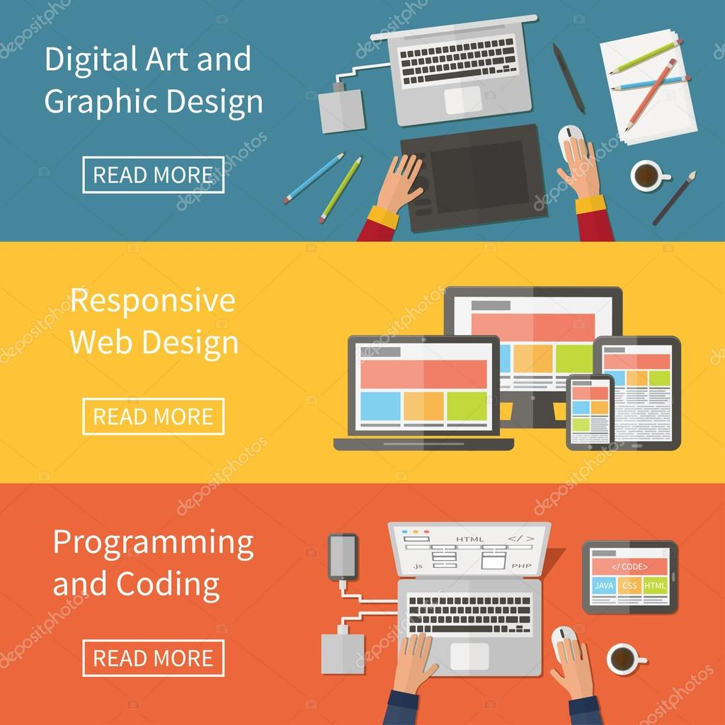 Graphic and Web design, programming, digital art, coding. Freelance occupation. Flat design vector concept.