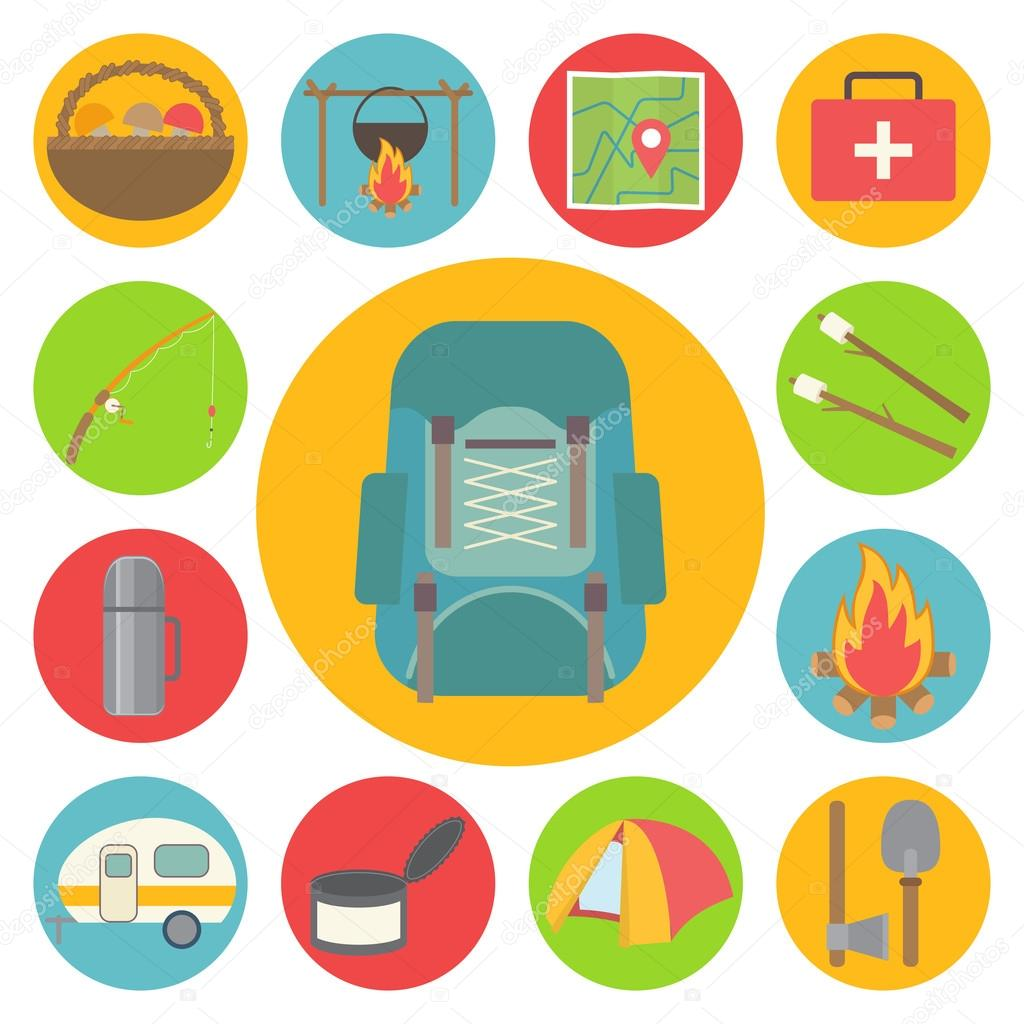 Camping vector icons set