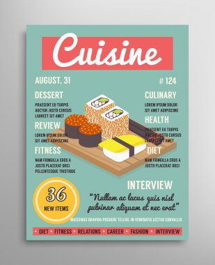 Magazine cover template. Food blogging layer, culinary cuisine vector illustration.