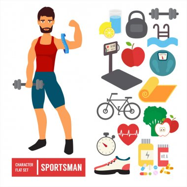 Fitness infographic. Vector icons