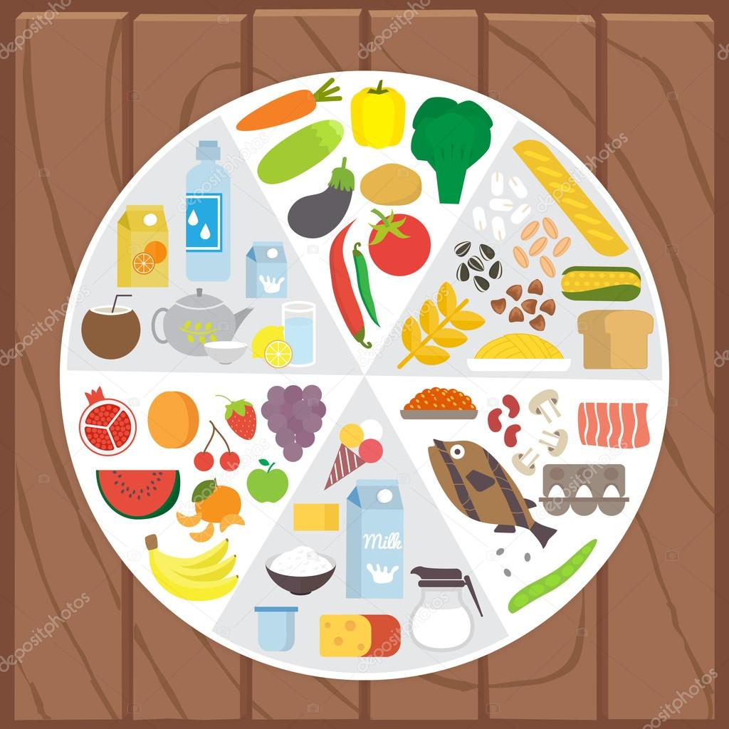 Healthy food. Infographic lifestyle concept with plate shared on portion. Flat vector illustration.