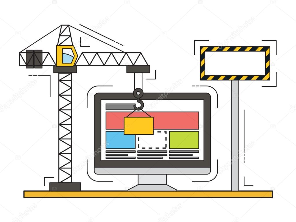 Fine Ligne Vecteur Plat Design De Site Web En Construction Page Web