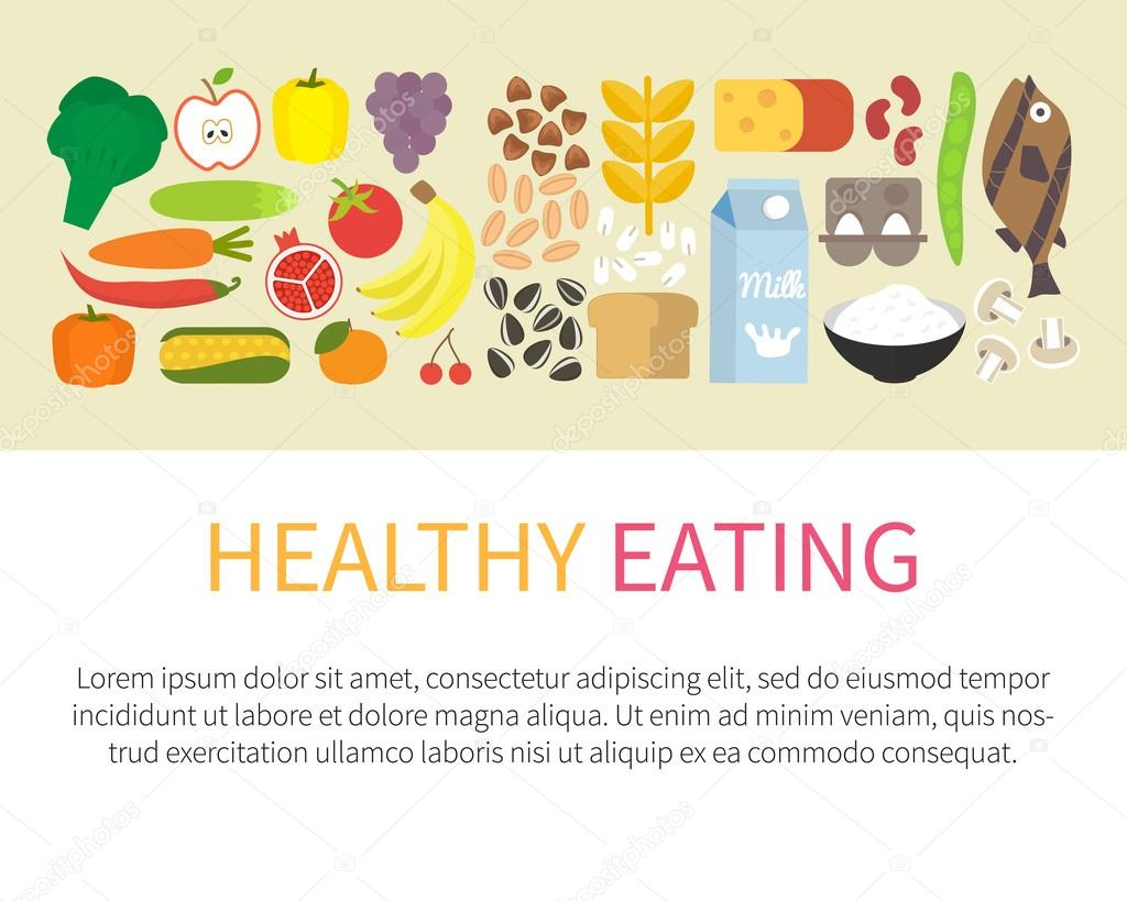 Healthy eating banner. Flat vector illustration.
