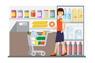 Woman in supermarket. Flat design vector.
