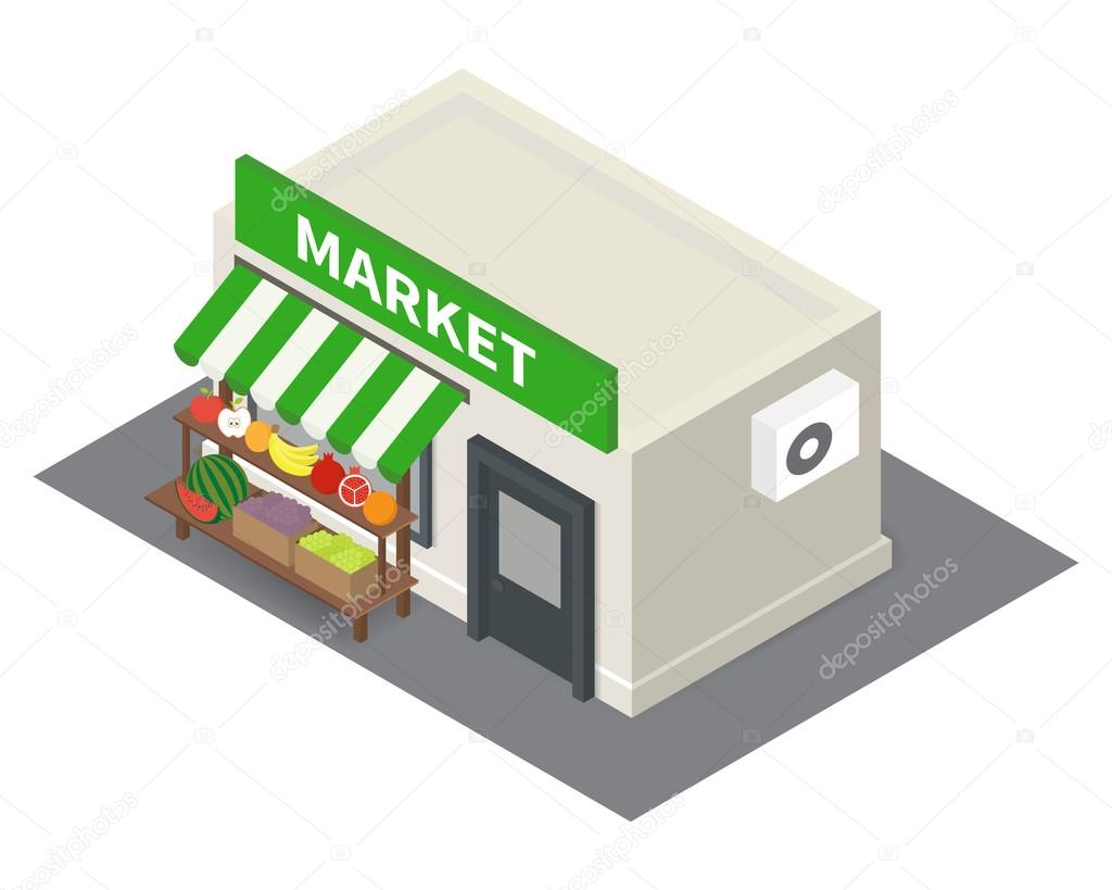 Vector isometric market stalls with vegetables.