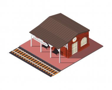 Vector isometric railway station