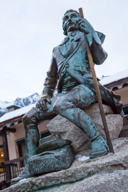 Famous mountaineer and scientist Dr Gabriel Paccard statue, Chamonix, France