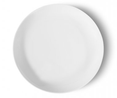 One Isolated White Porcelain Plate Top View
