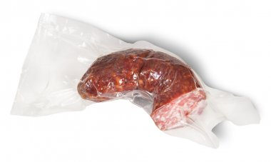 Piece Of Sausage In Vacuum Packing
