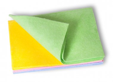 Multicolored cleaning cloths folded on top