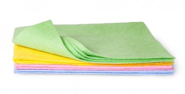 Full size multicolored cleaning cloths one folded