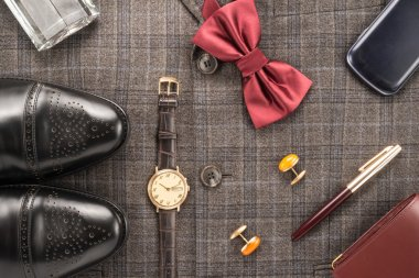 Men accessories on a gray background