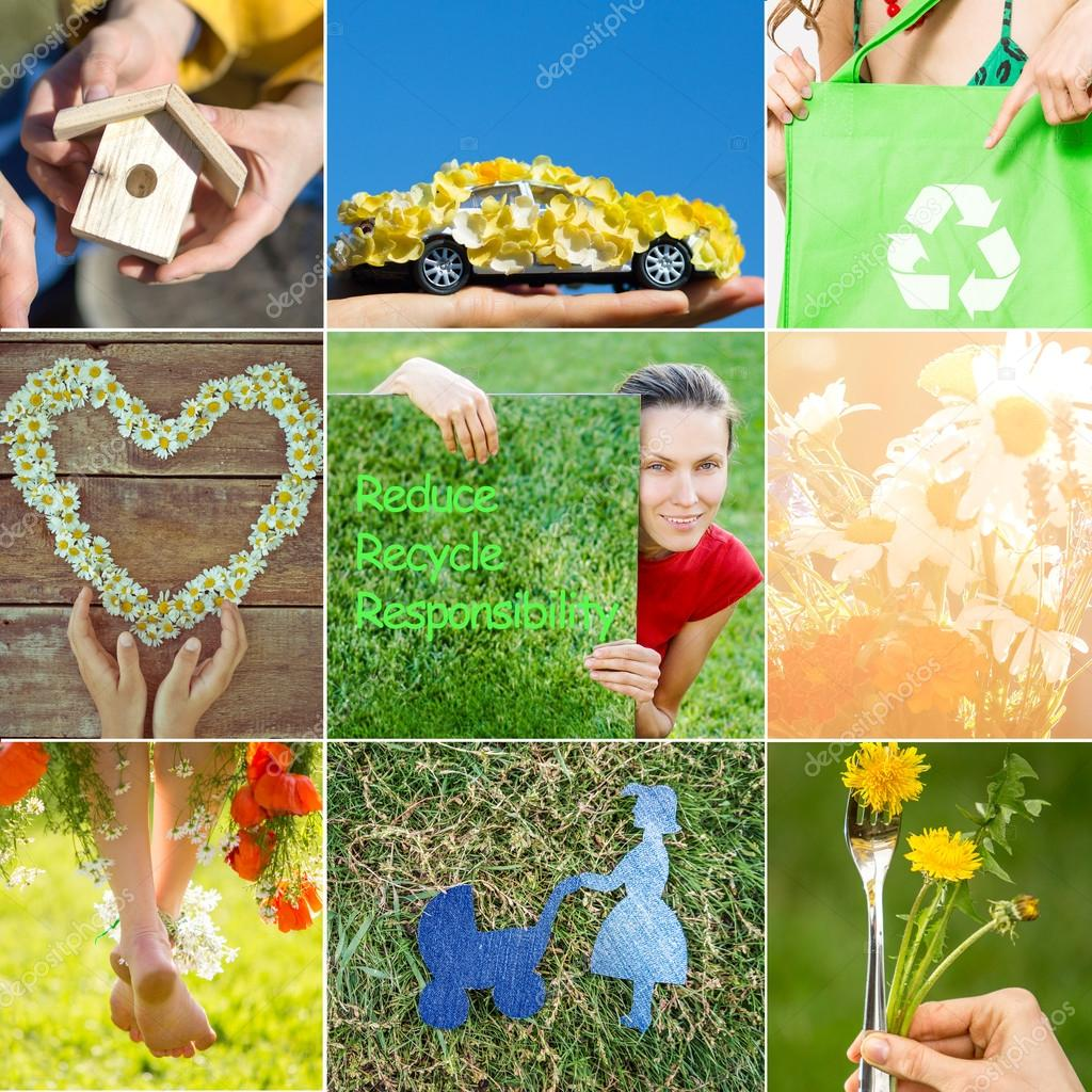 Eco friendly collage. Think green concept