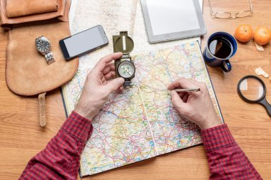Man planning travel