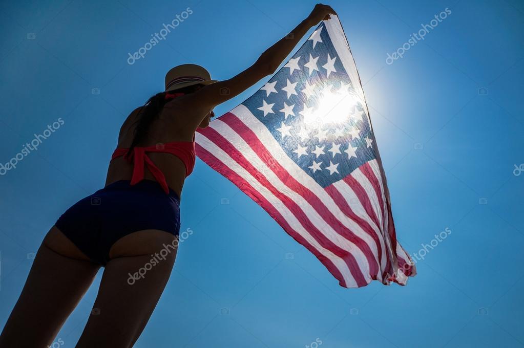 woman in bikini with the American flag