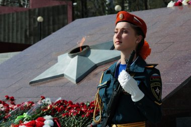 A young girl student of EMERCOM of Russia in the guard