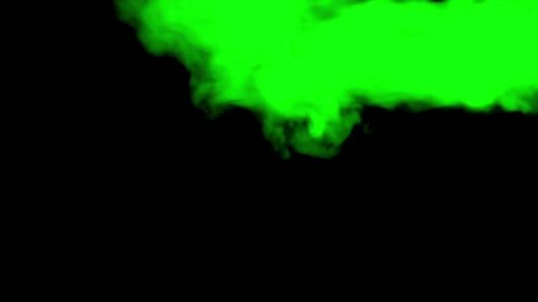 Green smoke on black isolated