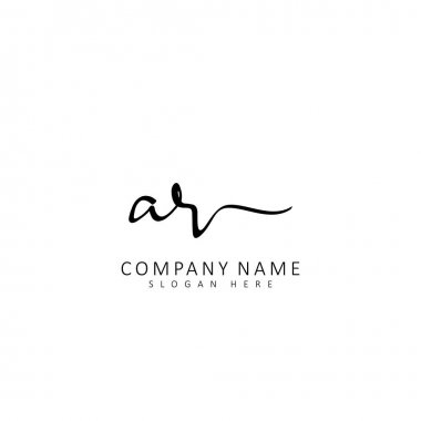 Initial AR handwriting of initial logo concept icon