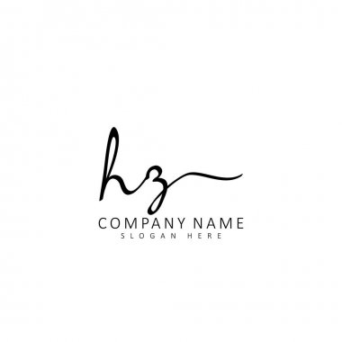 Initial HZ handwriting of initial logo concept icon