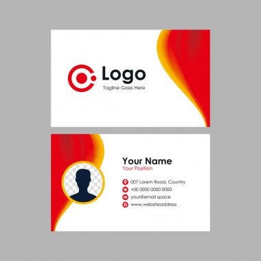Abstract smooth business card with red orange mesh gradient design, professional stylish name card with photo space template vector icon