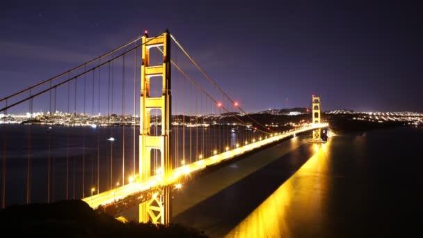 Stars over Golden Gate Bridge into Sunrise
