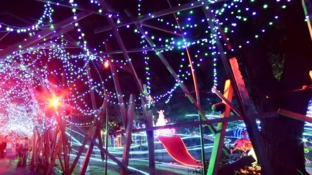 crowds enjoying the tunnel of Holiday illumination