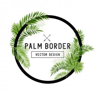 Tropical Palm Leaf Border Vector