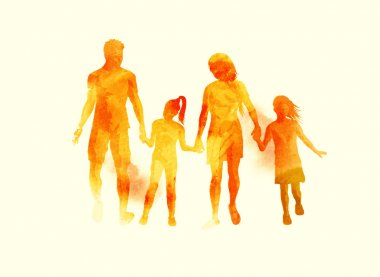 Young Happy Family watercolour Vector
