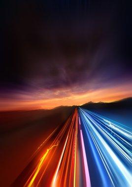 Super Fast. fast Light trails speeding