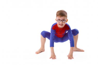 boy of five years in the costume of Spider-Man