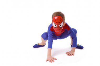 boy of five years in costume of Spider-Man