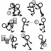 Set von Stickfiguren spielen Basketball