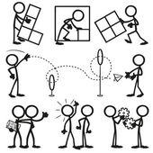 Set von Stick-Zahlen, Geschäftsarbeit